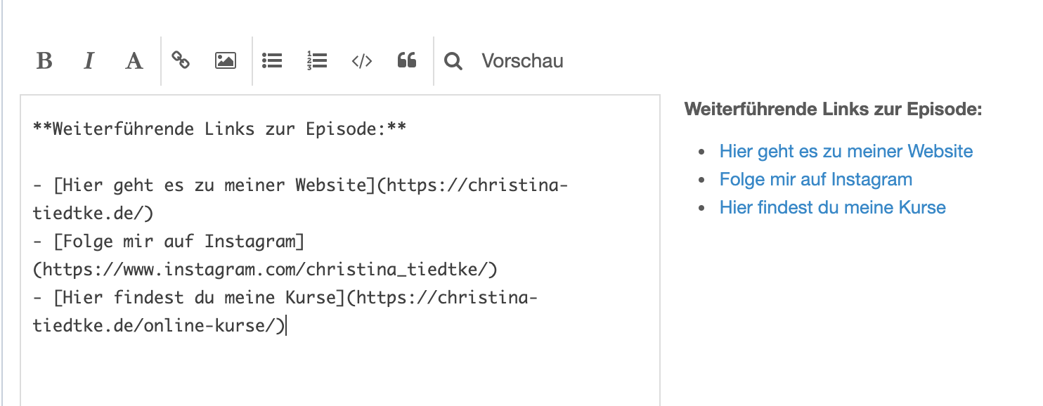Shownotes mit MarkDown