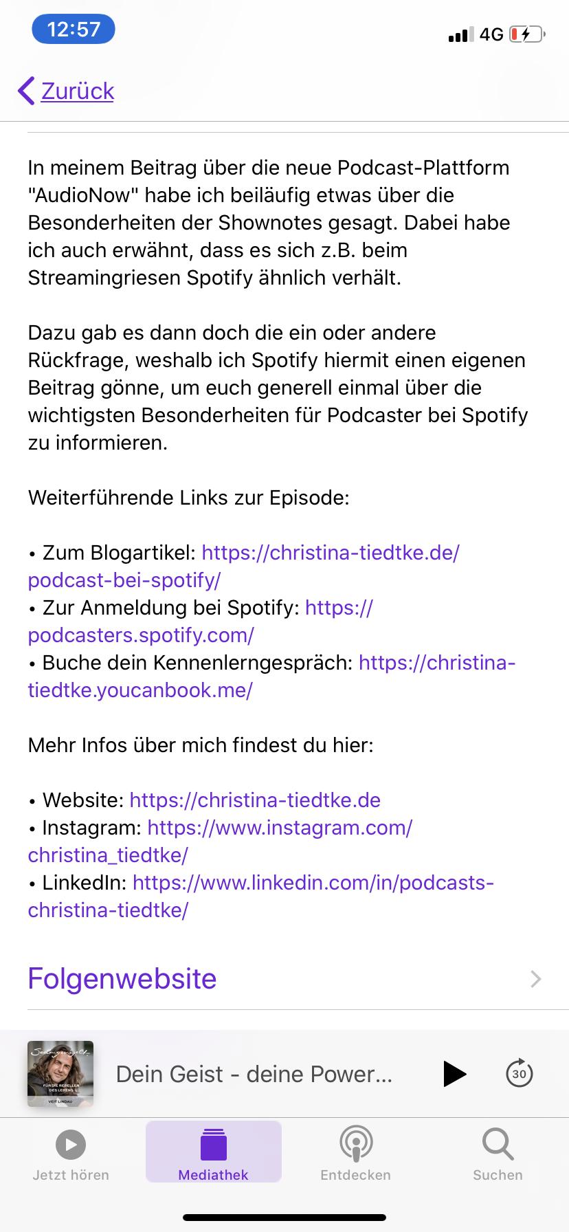 Darstellung Episodenbeschreibung iTunes