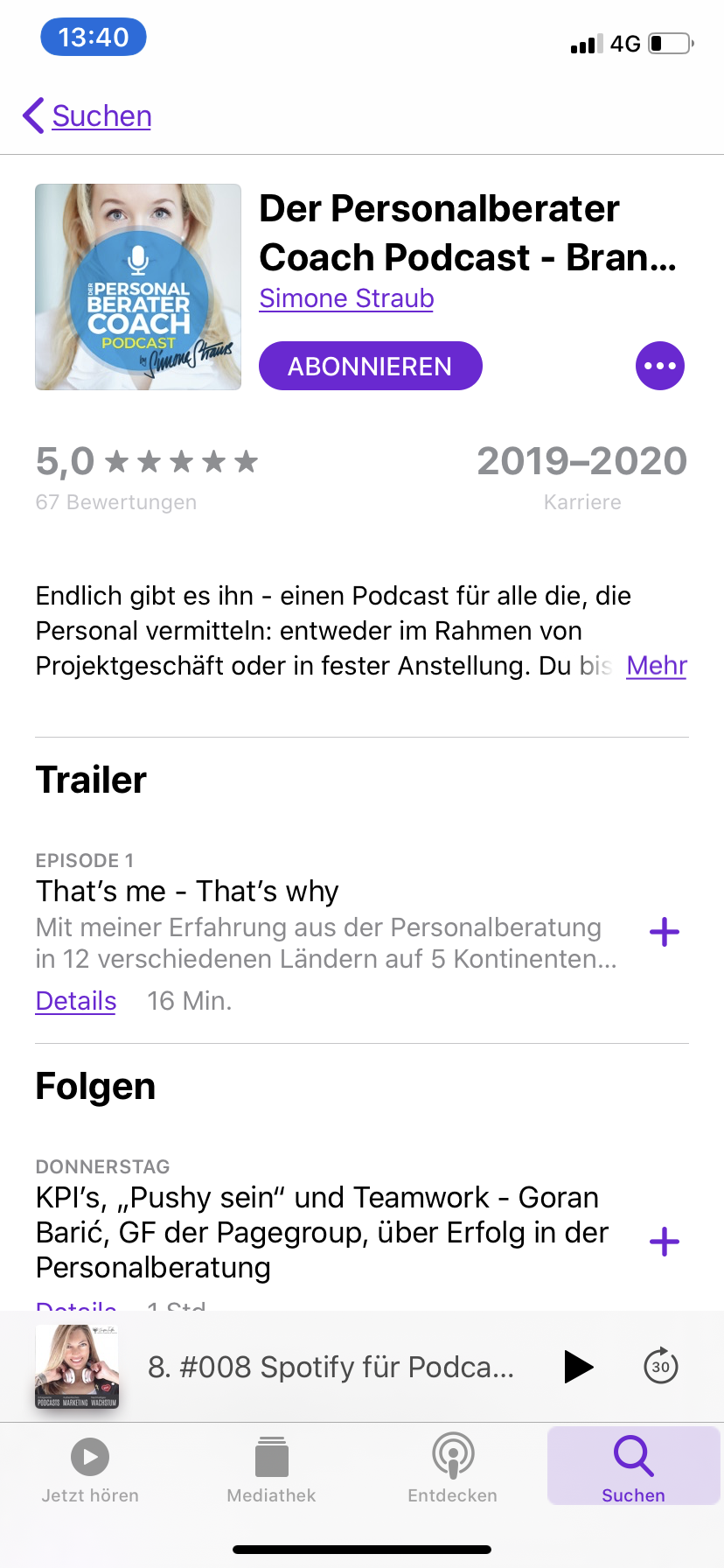 Trailer bei Apple Podcasts
