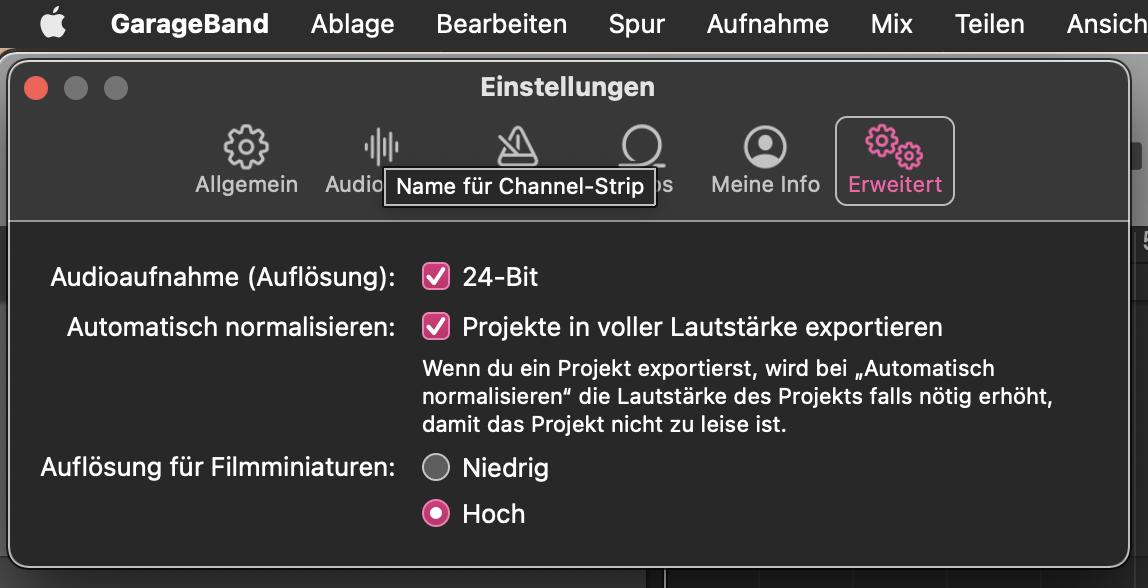 GarageBand - Lautstärke normalisieren